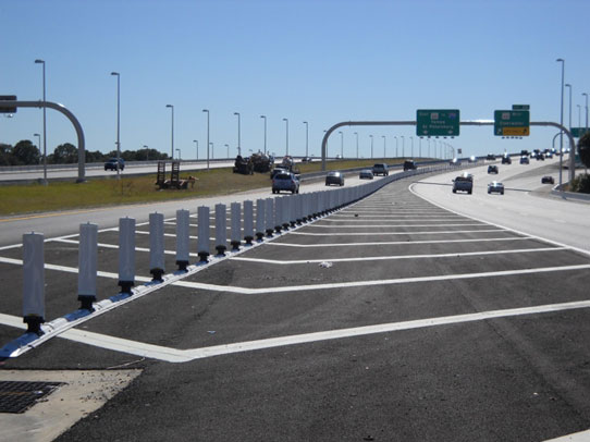 Pavement Markings on a highway for maintenance of traffic